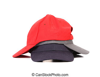Stack of working peaked cap Isolated on a white background