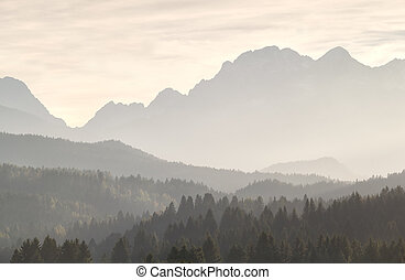 Misty sunshine in mountains - Misty sunset sunshine in...