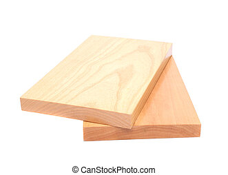 Two wooden plank close-up are located on the white...