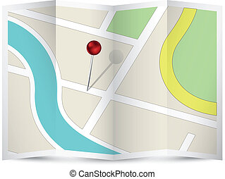 Map Icon with Red Pin