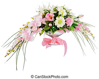 Floral bouquet of roses and orchids arrangement centerpiece...