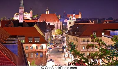 Nuremberg, Germany - Skyline of Nuremberg, Germany in the...