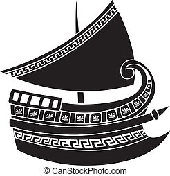 Greek ship stencil vector illustration for web