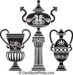 Ancient Greek vase on column. stencil set third variant