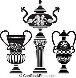 Ancient Greek vase on column. stencil set third variant