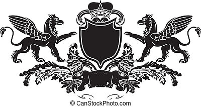 Heraldic Double Griffin Shield Crest