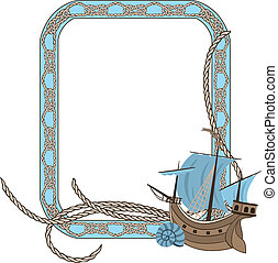 Sea frame with knots and boat - Sea frame with knots and...