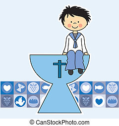 First Communion Invitation Card. boy