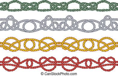 Sea knot decoration seamless pattern set