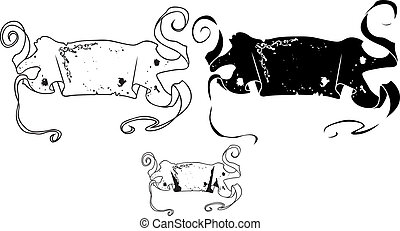 Antique Style Banners stencil