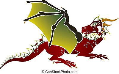 Traditional European dragon stencil
