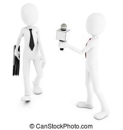 3d man reporter meeting stranger on white background