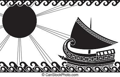 Ship in ocean classic greek style - Ship in ocean in classic...