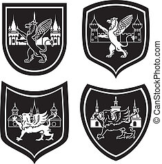 Municipal arm with griffin four variants stencil