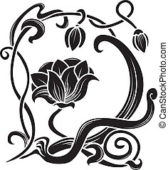 Flower stencil. decorative element in art nouveau style
