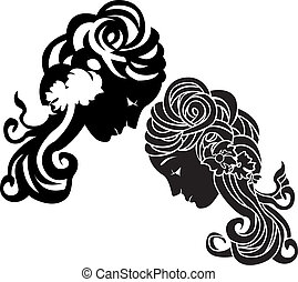 Female head stencil decorative ornament