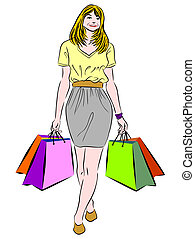 Shopping woman - Vector illustration of a woman with...