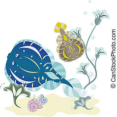 Flounder underwater world vector illustration for design