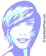 Face of woman with short hair