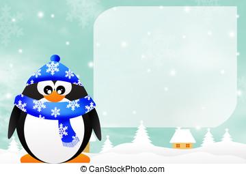 Penguin in winter - illustration of penguin in winter