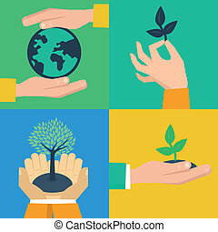 Vector set of ecology concepts - hands holding sprouts in...