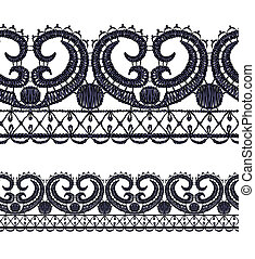 Seamless openwork lace border Realistic vector illustration...