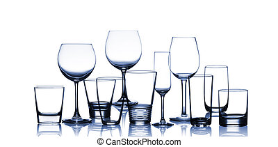 cup glasses - collection of blue cup glasses isolated on a...