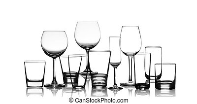 cup glasses set - collection of cup glasses isolated on a...