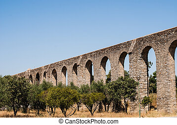 Wide angle view of the Roman aqueduct at Evora