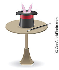 magic wand and cylinder hat on the table vector illustration...