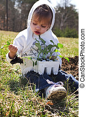 Young girl planting broccoli in a garden