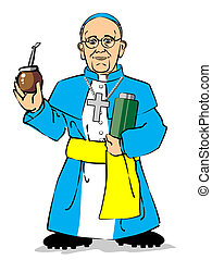 Pope Francis I drinking a mate - Cardinal Jorge Mario...