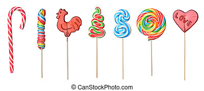 set of lollipops - set of colorful lollipops isolated on...
