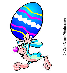 Fast Easter bunny - Easter bunny running with a big egg