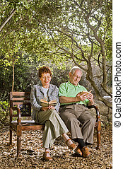 seniors on a bench - seniors couple sitting on a bench...