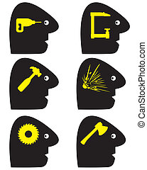Headache Symbols - Set of conceptual vector signs for a...