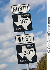 Texas Highway Sign - A highway road sign near Bandera in...