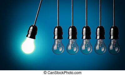 Perpetual motion with light bulbs. - Idea concept on blue...