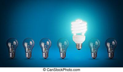 Row with light bulbs