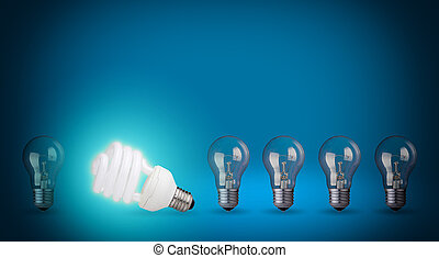 Row of light bulbs and energy save bulb Idea concept on blue...