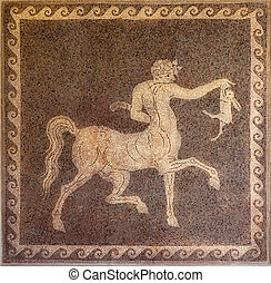 Mosaic of centaur and rabbit on wall in the Archaeological...