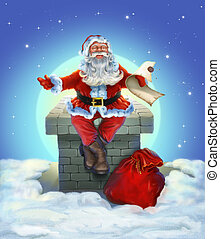 Santa Claus sitting on the roof. Illustration