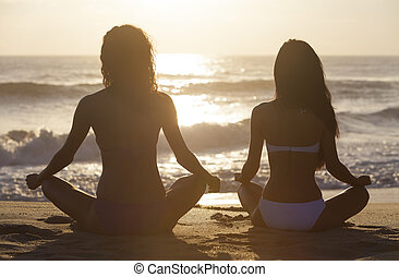 Two Bikini Women Girls Sitting Sunset Sunrise Beach