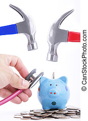 Check your money before use Hold Hammer to hit piggy bank...