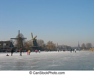 winter7980 - Holland, a crowd of skaters on a sunny...