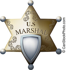 Marshal's badge with a blank space for the title of and...