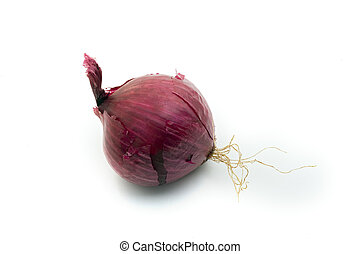 red purple onion - one purple onion isolated on white...