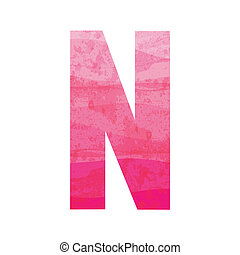 Pink alphabet N - Alphabet N for design and decoration.