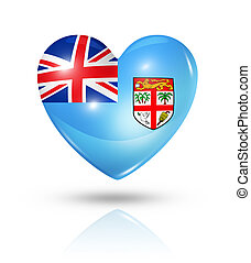 Love Fiji, heart flag icon - Love Fiji symbol. 3D heart flag...