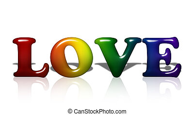 Love - Word Love in 3D LGBT flag colors isolated on white...